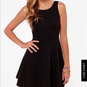 Lulu's Solemio Black Skater Mini Dress, Size XS